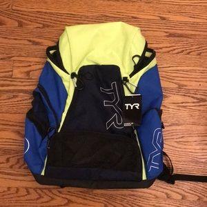 Blue Green and Black Tyr swim bag